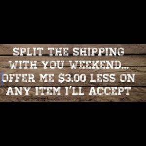 Other - 1/2 off shipping all week